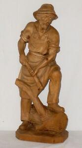 Alte-geschnitzte-Holzfigur-Holz-Schnitzerei-Holzfaller-carved-wood-51cm-Figur-gr