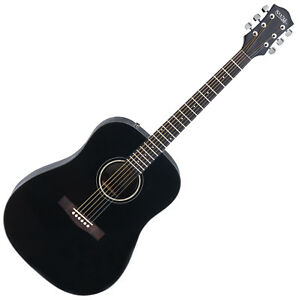 classic acoustic folk guitar western dreadnought 6 steel strings 20 frets black ebay. Black Bedroom Furniture Sets. Home Design Ideas
