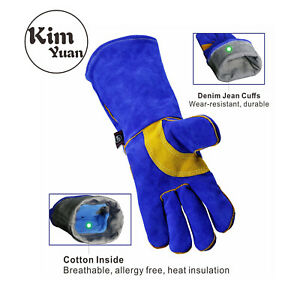 Kim Yuan Leather Welding Gloves Heat Fire Resistant Oven Fireplace