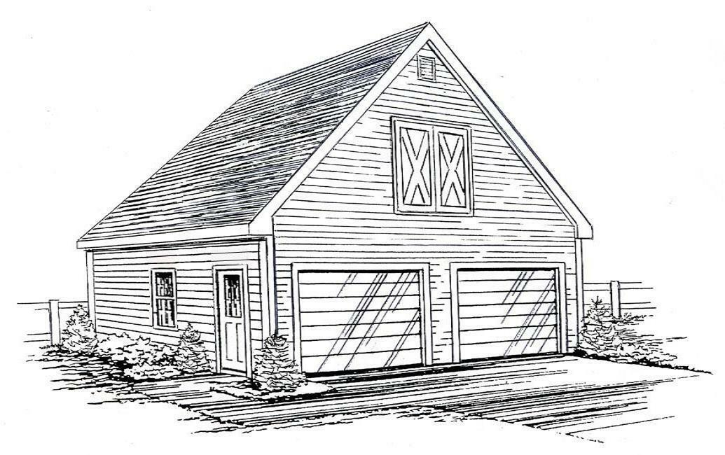 24 x 26 2 Car FG Garage Building Blauprint Plans with Interior Stair to Loft