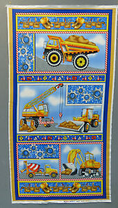 Construction site fabric panel children 39 s quilt for Children s fabric panels