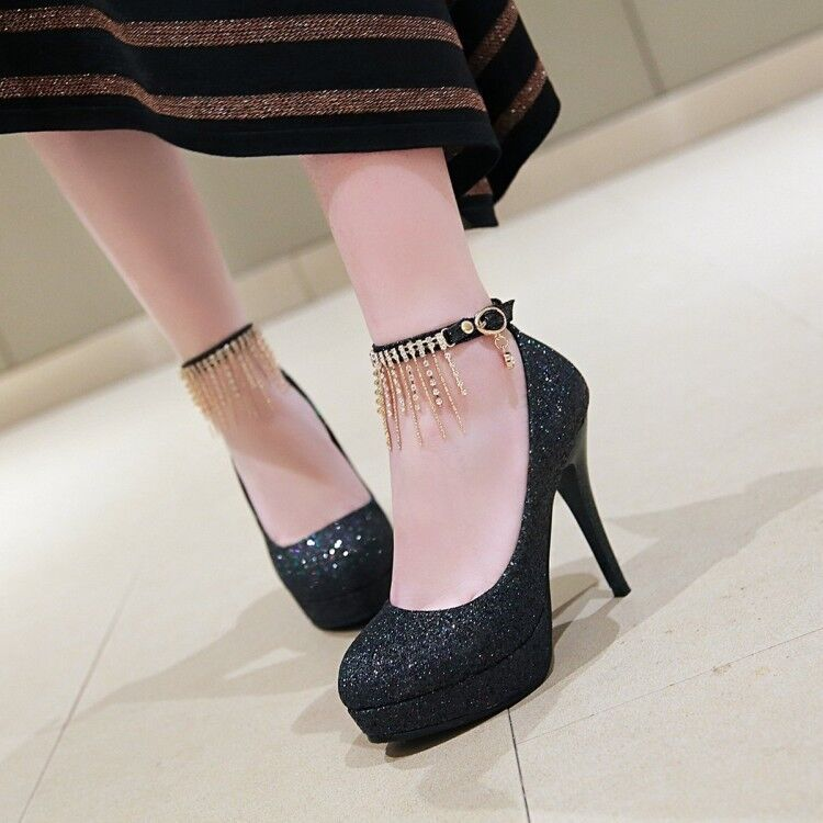 Womens Rhinestone Tassels Sequin Glitter Ankle Strap Slim High Heels Pumps shoes