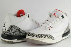Nike Air Jordan Retro III 3 White Cement Grey Fire Red Black Size ... 671638a8d