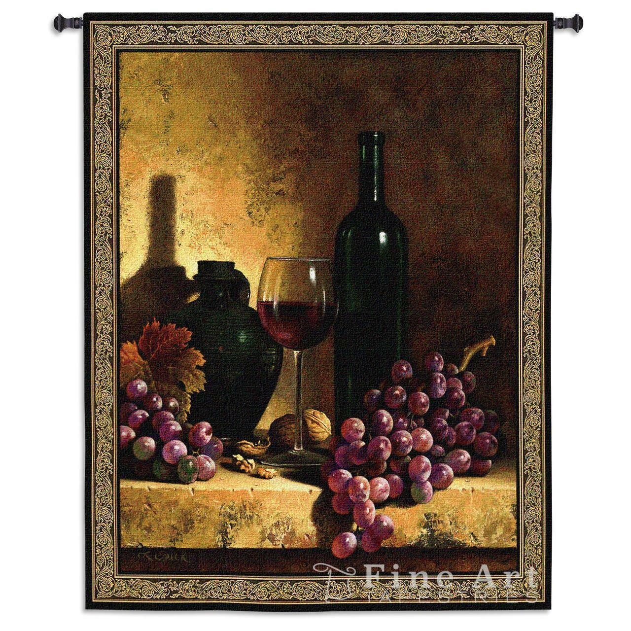Wine Bottle with Grape & Walnuts Still Life Tapestry 42 x53