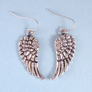 Vintage-Antique-Designer-Inspired-NEW-Angel-Wing-Dangle-Earrings-Crystal-USA