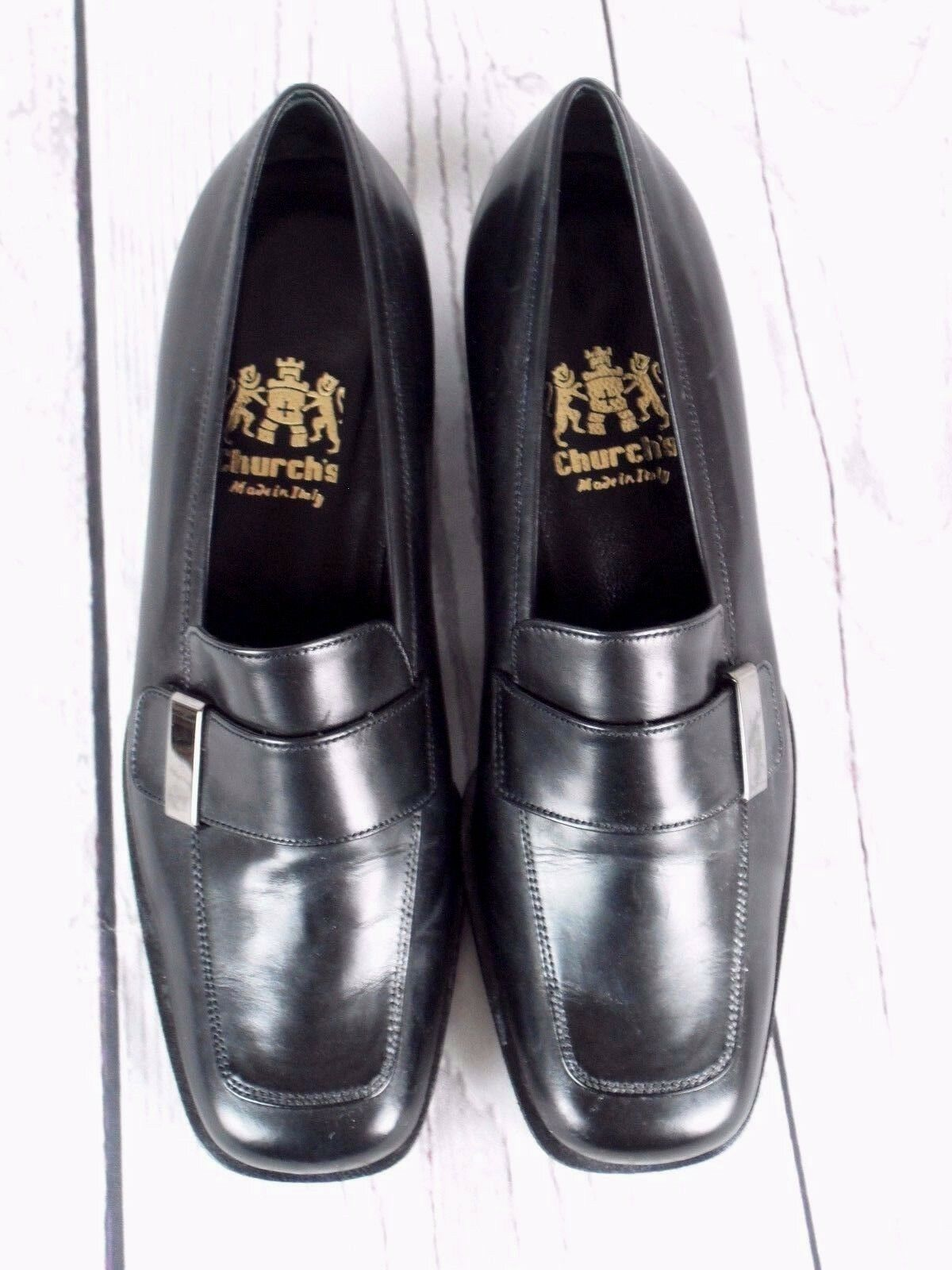 CHURCH'S BLACK LEATHER COURT Schuhe - UK SIZE IN 3, EU 36. MADE IN SIZE ITALY d3f753