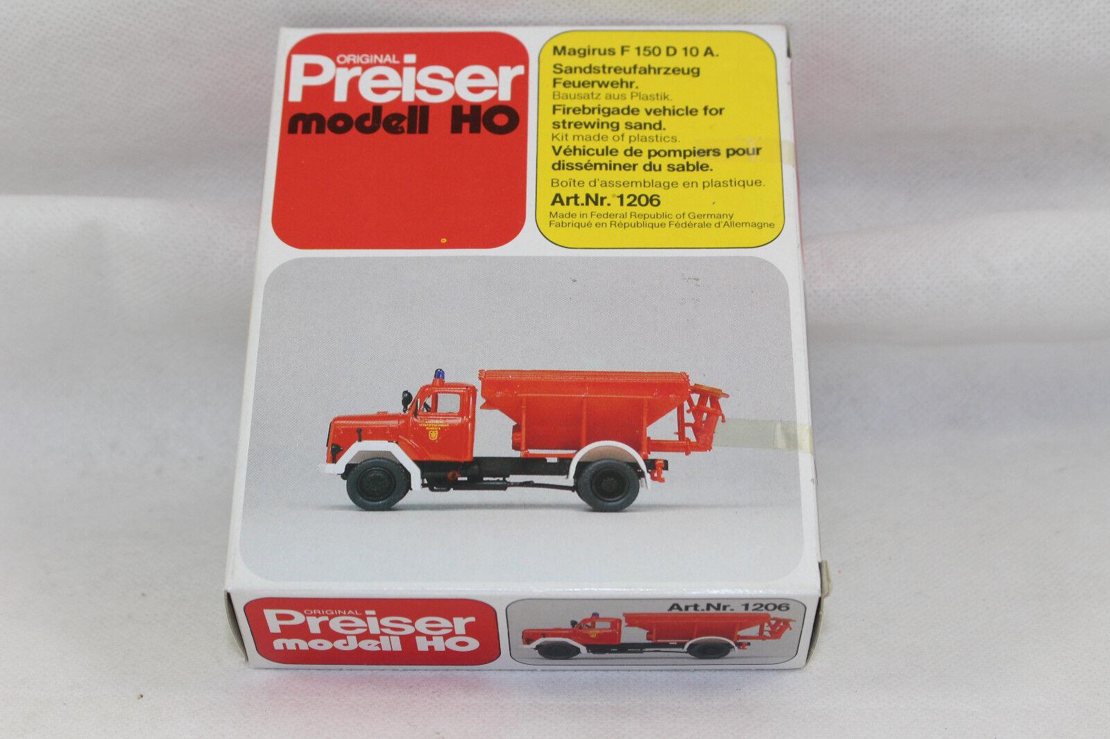 Bx1288, Preiser 1206 Bausatz Magirus F 150 D 10 A Feuerwehr Sandstreufahrzeug