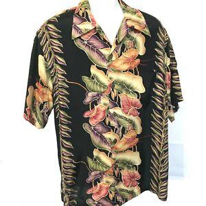 Vintage-Kamehameha-Hawaiian-Shirt-Sz-L-Black-Anthurium-Multi-Color-Floral-Print