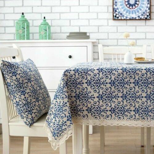 Coton Lin Dentelle Nappe Rectangulaire Table Carrée Tissu Décor Vintage