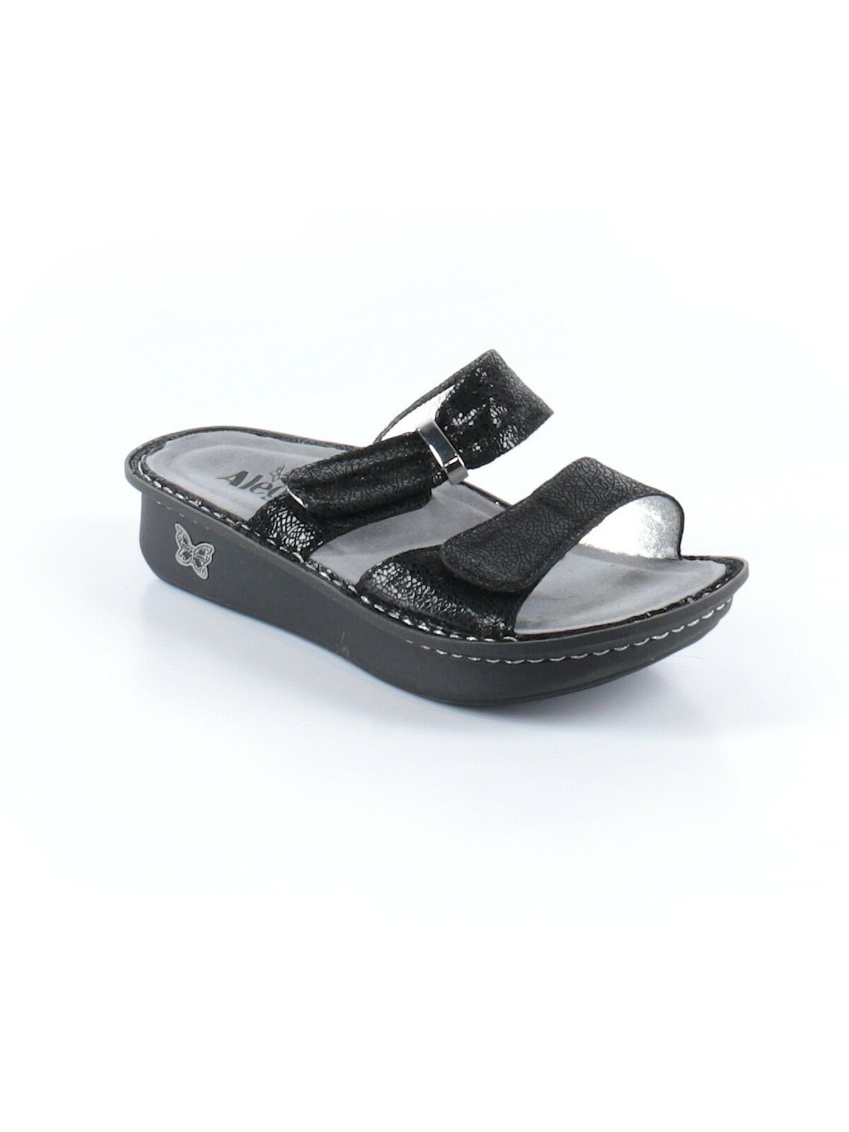 Women Alegria Karmen Pewter Dazzler Dual Strap Slide Sandal shoes Size 36