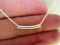 Pure Sterling Silver Chain Necklace With Sterling Silver Tube Bead