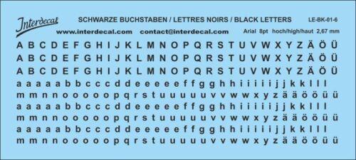 lettres letters Arial 8 pt. 110x49 mm Buchstaben LE-BK-01-6 Naßschiebebild