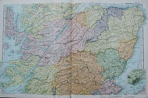 1906-LARGE-MAP-SCOTLAND-CENTRAL-PERTH-FORT-WILLIAM-INVERNESS