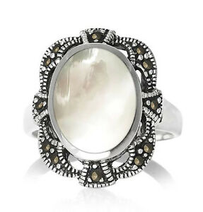 Mother-of-Pearl-Marcasite-925-Solid-Sterling-Silver-Oval-Ring-Size-6-10-NWT