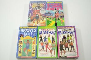 Richard-Simmons-Lot-of-5-VHS-Tapes-Blast-off-Disco-Dance-your-Pants-Off-and-More