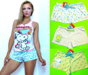 NWT Snoopy Peanuts cotton sleep SHORTS with drawstring <S,M 3colors/2characters