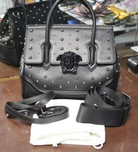 bb47592c3be5 Image is loading Authentic-Versace-City-Stud-Palazzo-Empire-Black-Leather-