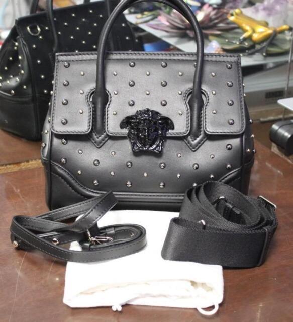 4e8284e017a3 Authentic Versace City Stud Palazzo Empire Black Leather Handbag NEW WITH  TAGS