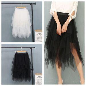 f052b1a275d5f5 Girl's Multi-layer Irregular Midi Dress Women Skirt High Waist Tulle ...
