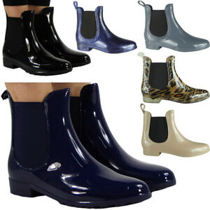 Bottes-Hiver-Femmes-Pluie-Plate-Chelsea-Cheville-Wellies-Wellington-Bottes-Chaussures-Taille