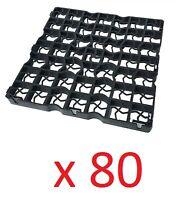 80 X Black Plastic Paving Driveway Grid Turf Grass Gravel Protector Drainage Mat