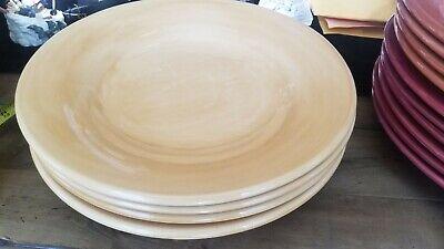 """POTTERY BARN SAUSALITO Tan DINNER PLATES 12.25/""""  SET OF 2"""