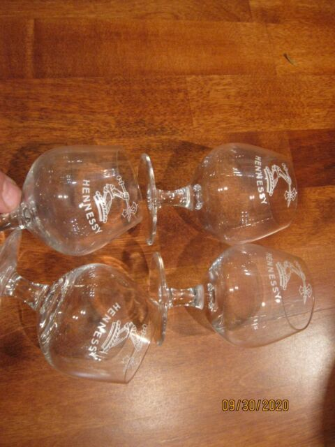 Vintage Hennessy Etched Glass Cognac Snifters Stemmed Set of 4 Made in France