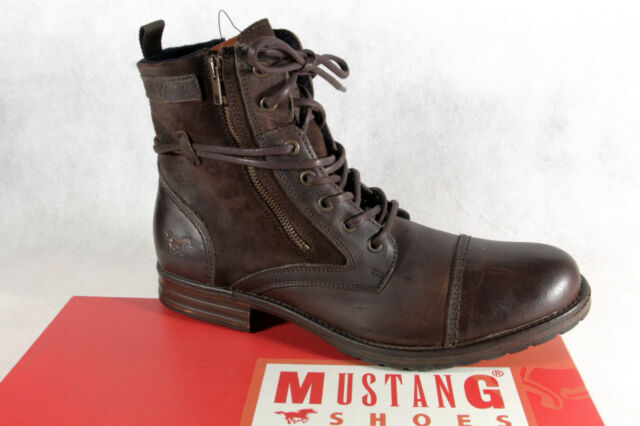 Mustang Boots Lace up Boots Braun Padded, Real Leather New