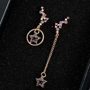 Women-Asymmetric-Hollow-Star-Rhinestone-Crystal-Dangle-Stud-Earrings-Jewelry-New