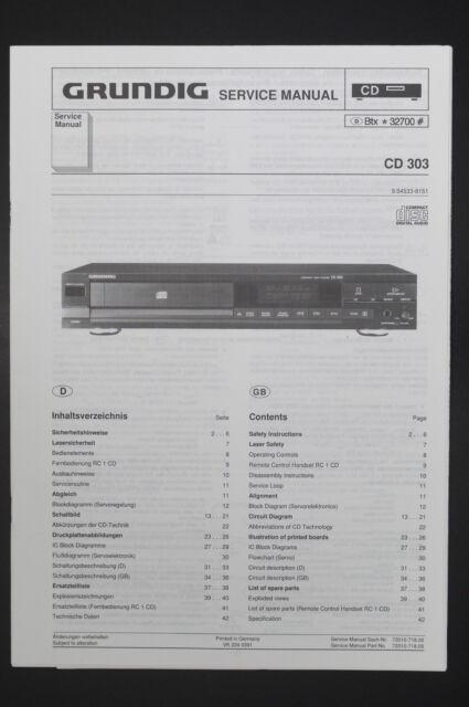 Grundig Cd 303 Original Service Manual  Guide   Wiring
