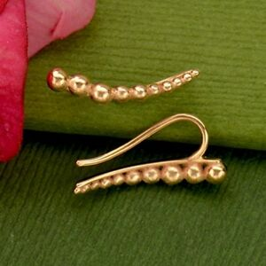 Simple-Minimalist-Rose-Gold-Vermeil-Granulated-Ball-Curved-Ear-Climbers-Earrings