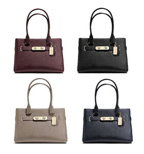 c4566f7340 Image is loading NWT-COACH-Swagger-Carryall-Satchel-Leather-Large-Shoulder-