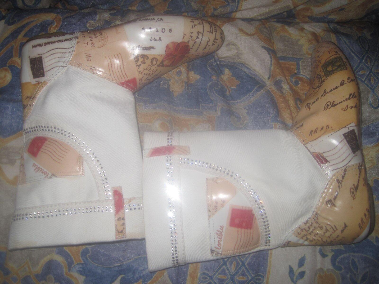 LORIBLU Stivaletti estivi bianchi Jeans denim strass white summer boots New N 37