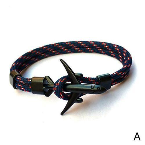 Flugzeug Anker Armbänder Männer Charme Seil 550 Paracord Armband W8E6