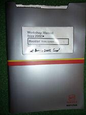 SEAT IBIZA BRAKE BRAKING SYSTEMS Inc ABS OEM FACTORY WORKSHOP MANUAL 2002>