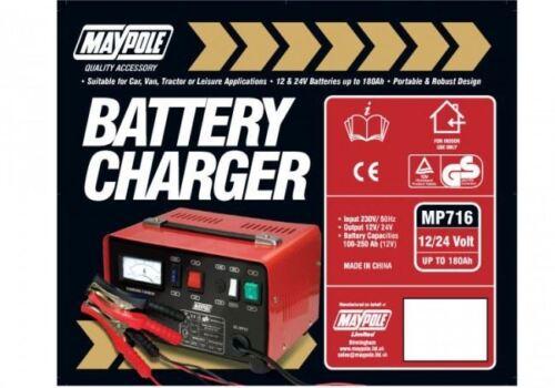 Maypole Heavy Duty Steel 12 Amp 12v//24v Car Van Tractor Battery Charger MP716