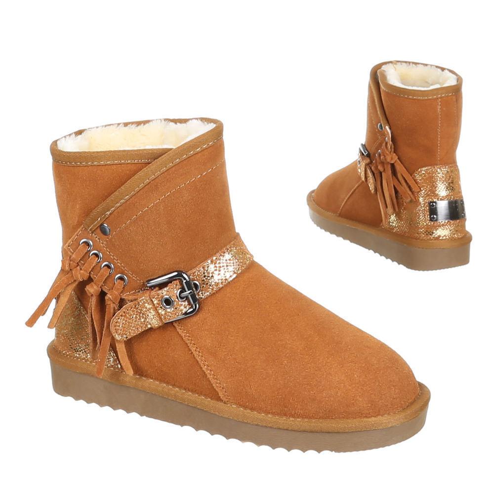 Chaussures Femmes Bottes 0q7j chaud matelassée Daim Bottines camel