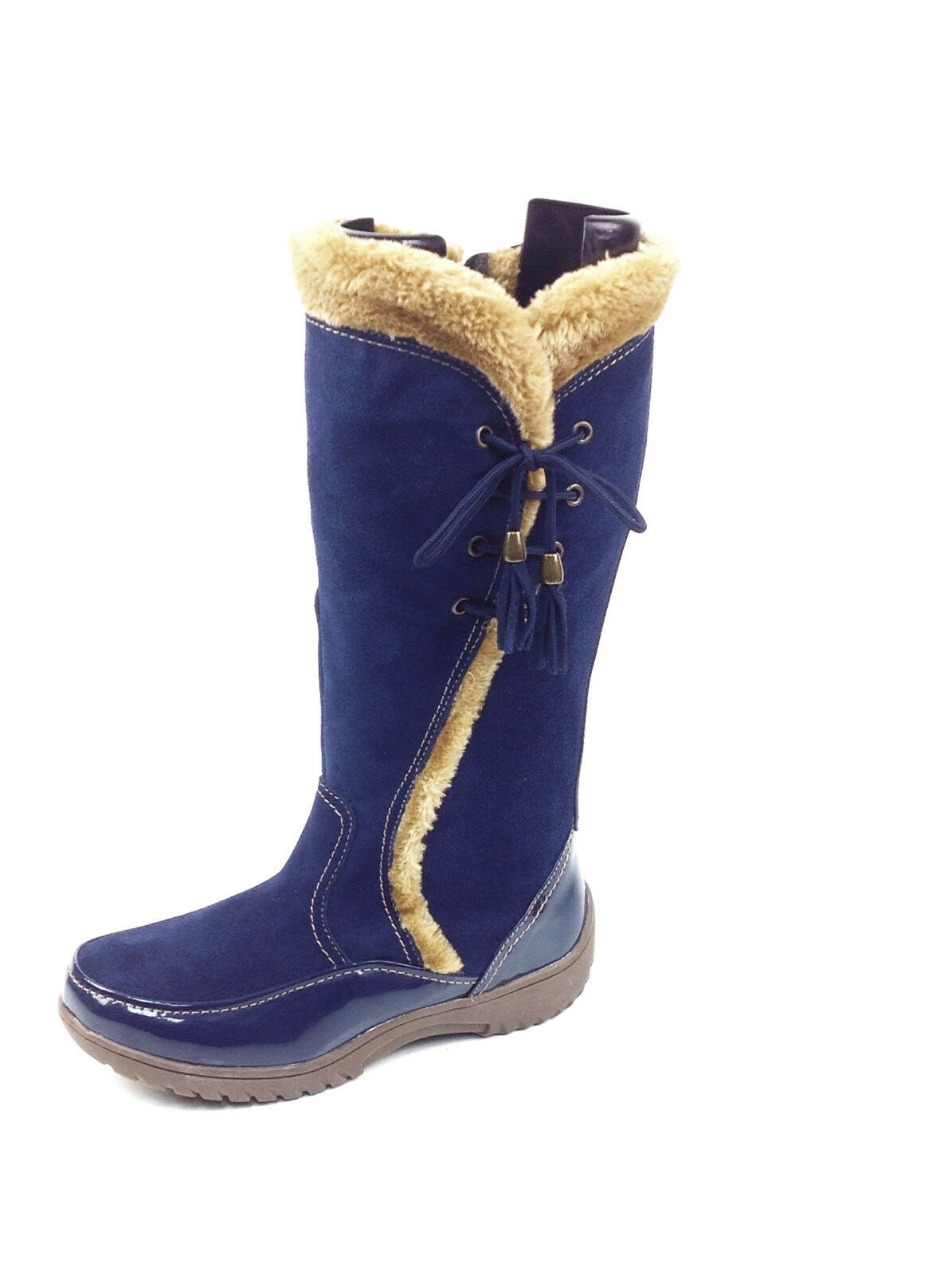 Sporto® Waterproof Suede Tall Boot Side Winder Tassel Lace Up Navy Größe 11 M