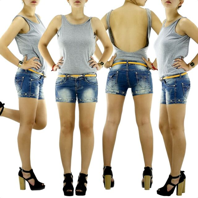 Jeans Shorts kurze Hose mit Gürtel Damenjeans Hüftjeans Pants Panty W26-W32 M.3
