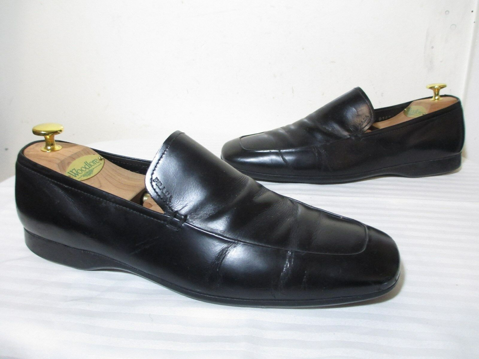 PRADA MEN'S BLACK LEATHER SLIP ON LOAFERS SHOES MARKED SZ 7  US 8 - 9