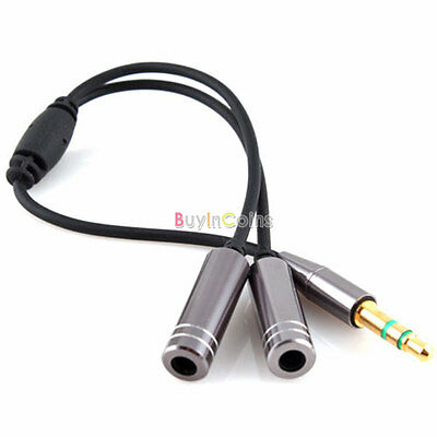 3.5MM Male to 2 Female Earphone Headphone Audio Splitter Extension Cable Adapter