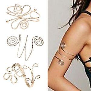 NEW-Fashion-Punk-Swirl-Upper-Arm-Cuff-Armlet-Armband-Bangle-Bracelet-Gift-Gold