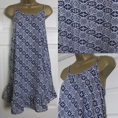 M/&S NAVY WHITE TILE PRINT SWING SUN DRESS SIZE 8-22 NEW BEACH STRAPPY