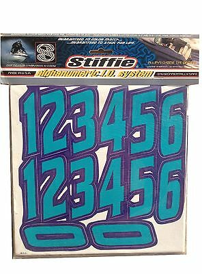STIFFIE Waveline Teal 3 Alpha-Numeric Registration Identification Numbers Stickers Decals for Boats /& Personal Watercraft