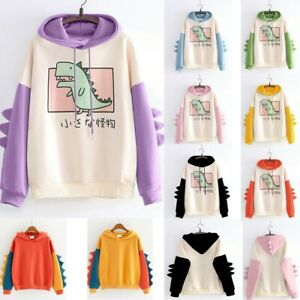 Women Dinosaur Hoodie Coat Jacket Sweatshirt Tops Hooded Pullover Outwear Blouse