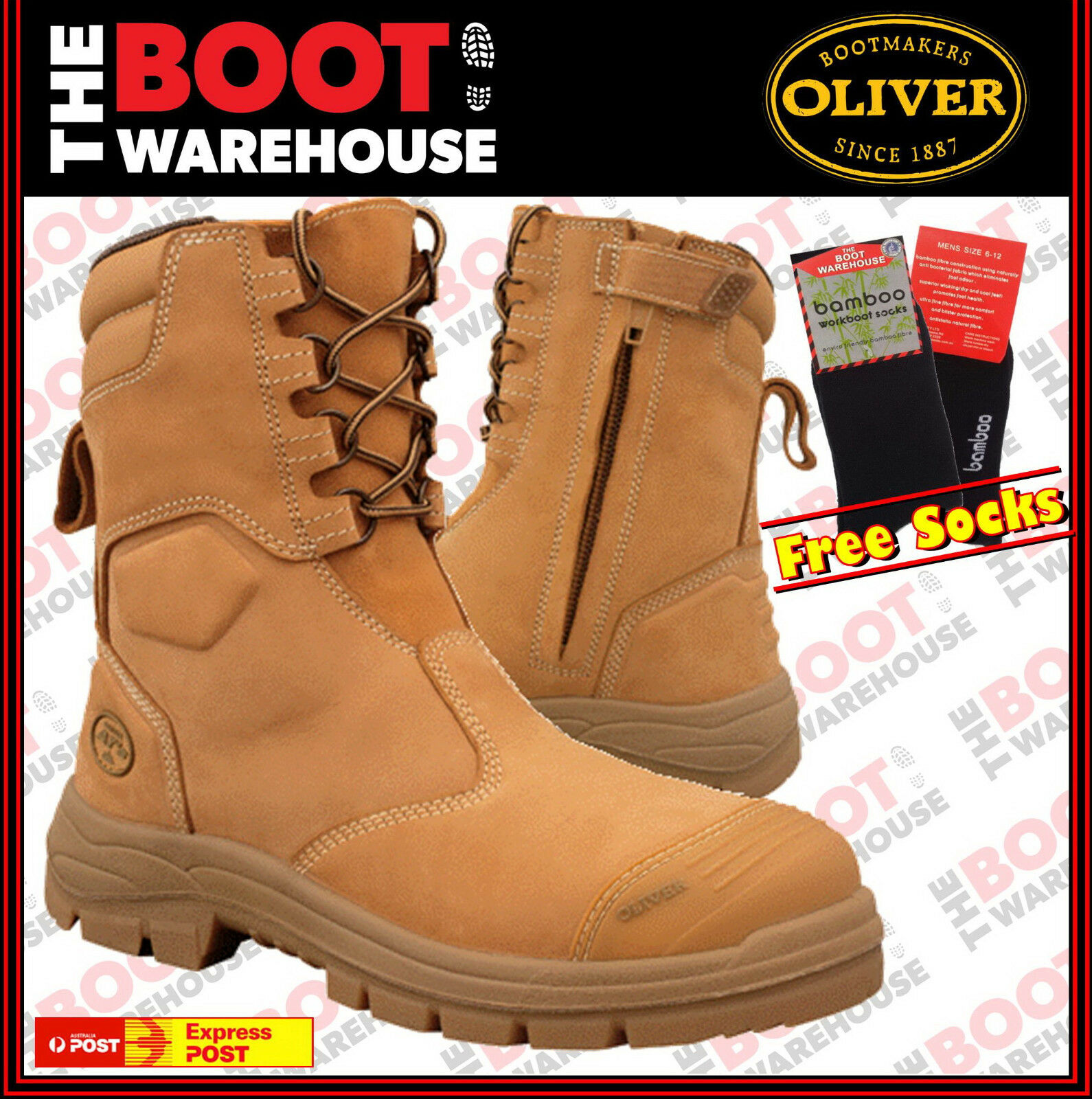 Oliver Work Stiefel 55385, Steel Toe Safety High Leg, Zip Side. UPDATED STYLE