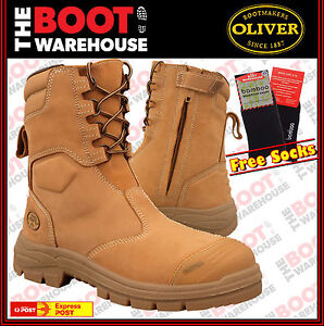 OLIVER High Leg Zip Side Steel Toe Work Boots