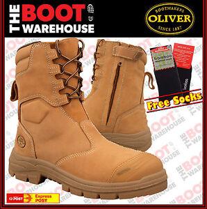 OLIVER High Leg Zip Side Steel Toe Work Boots