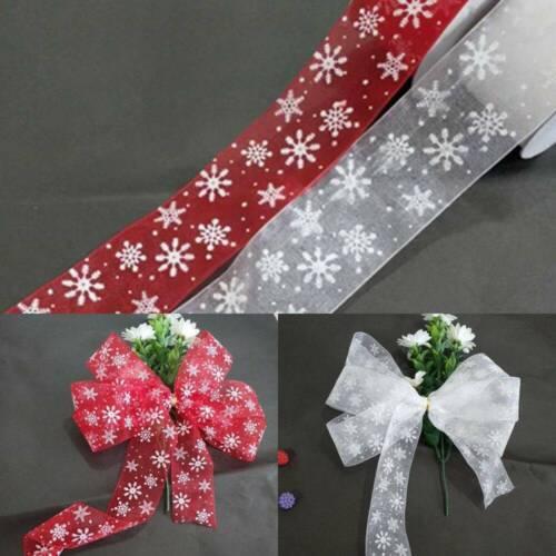 Christmas Wrap Gift Packing Wired Craft Webbing Snowflake Ribbon 25 Yards Decor