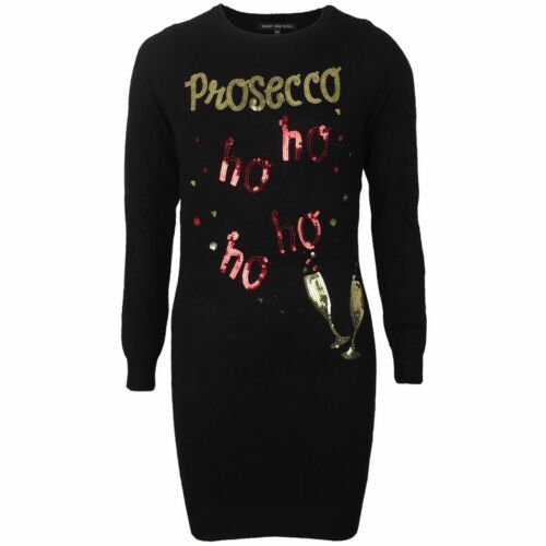 Womens Ladies Novelty Christmas Jumper Prosecco Long Sequin Tunic Xmas Thin Knit